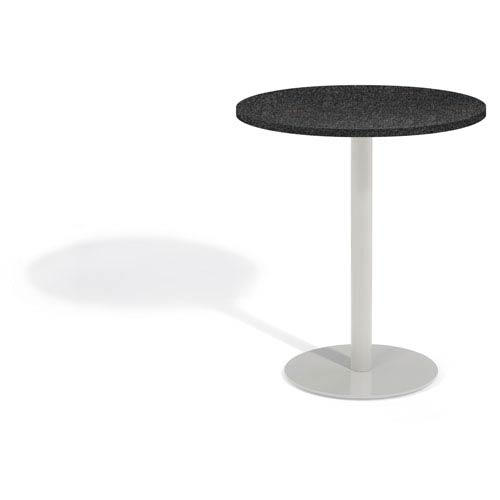 Travira 36 In. Round Bar Table - Powder Coated Steel Frame - Lite-Core Granite Charcoal Top