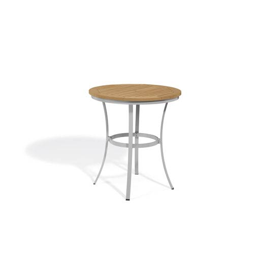 Travira Natural Tekwood Top 36-Inch Round Cafe Bar Table with Powder Coated Aluminum Frame