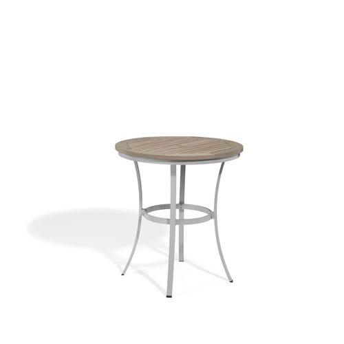 Travira Vintage Tekwood Top 36-Inch Round Cafe Bar Table with Powder Coated Aluminum Frame