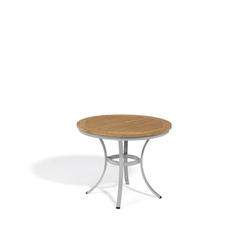 Oxford Garden Travira Natural Tekwood Top 36 Inch Round Cafe Bistro Table  With Powder Coated