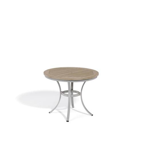 Superieur Oxford Garden Travira Vintage Tekwood Top 36 Inch Round Cafe Bistro Table  With Powder Coated