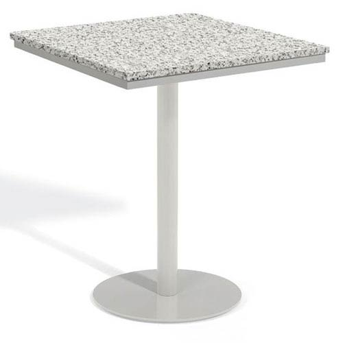Travira 36 In. Square Bar Table - Powder Coated Steel Frame - Lite-Core Granite Ash Top