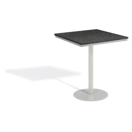 Travira 36 In. Square Bar Table - Powder Coated Steel Frame - Lite-Core Granite Charcoal Top