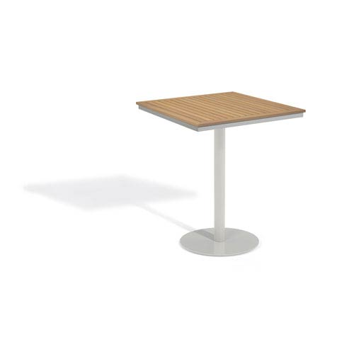 Travira Natural Tekwood Top 36-Inch Square Bar Table with Powder Coated Aluminum Frame