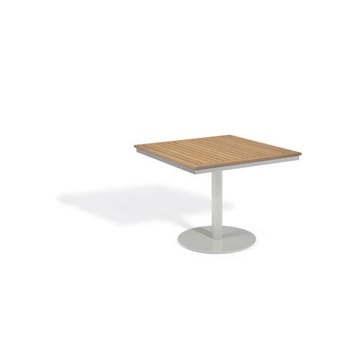 Oxford Garden Travira Natural Tekwood Top 36 Inch Square Bistro Table With  Powder Coated Aluminum