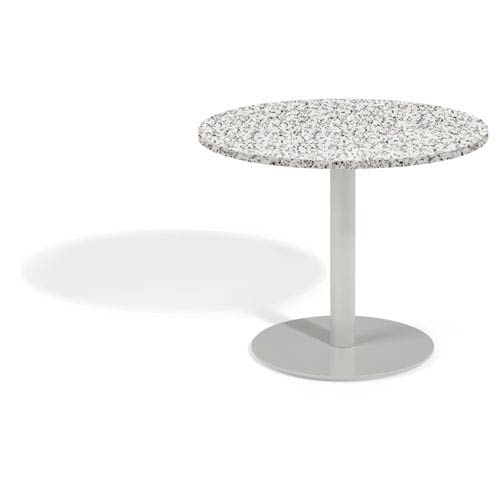 Travira 36 In. Round Bistro Table - Powder Coated Steel Frame - Lite-Core Granite Ash Top