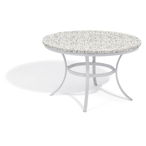 Oxford Garden Travira 48-inch Round Dining Table - Powder Coated Aluminum Frame - Lite-Core Granite Ash Top