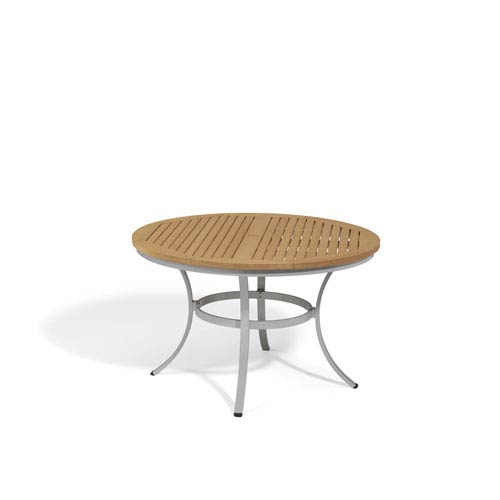 48 inch round dining table extension oxford garden travira natural tekwood top 48inch round dining table with powder coated aluminum frame 48 inch