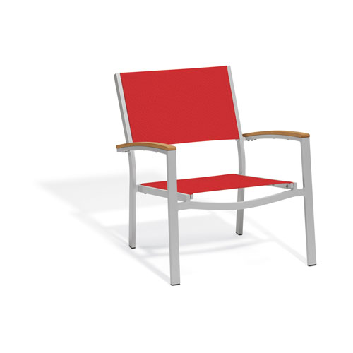 Travira Chat Chair - Powder Coated Aluminum Frame - Red Sling Seat - Teak Armcaps - Set of 4