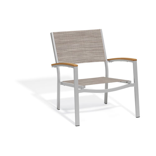 Oxford Garden Travira Chat Chair - Powder Coated Aluminum Frame - Bellows Sling Seat - Teak Armcaps - Set of 2