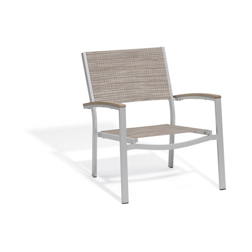 Travira Chat Chair - Powder Coated Aluminum Frame - Bellows Sling Seat - Tekwood Vintage Armcaps - Set of 4