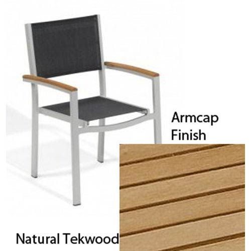 Travira Black Sling Armchair with Natural Tekwood Armcaps, Set of Four