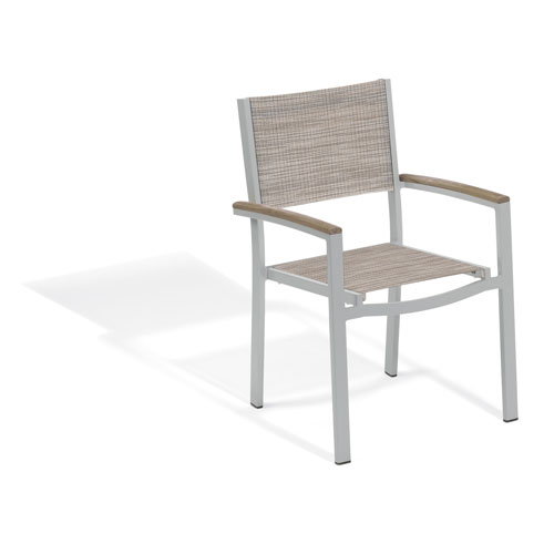 Travira Sling Armchair - Powder Coated Aluminum Frame - Bellows - Tekwood Vintage Armcaps - Set of 2