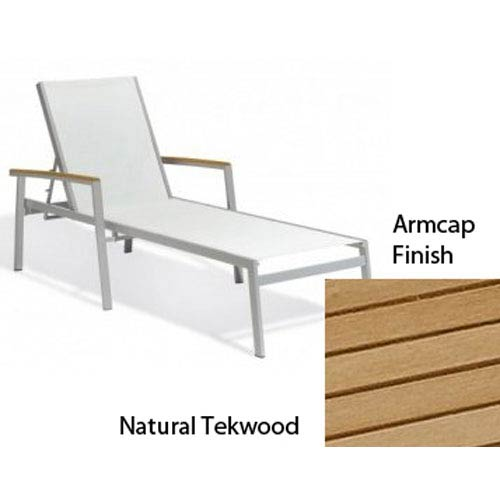 Travira Natural Sling Chaise Lounge with Natural Tekwood Armcaps, Set of Four