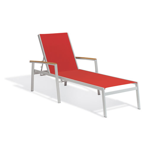 Oxford Garden Travira Chaise Lounge - Powder Coated Aluminum Frame - Red Sling - Teak Armcaps  - Set of 4