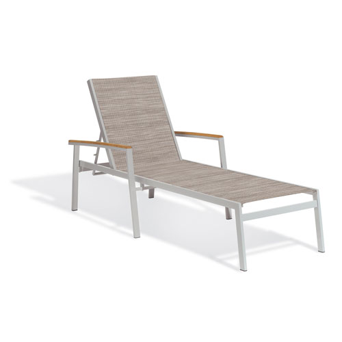Travira Chaise Lounge - Powder Coated Aluminum Frame - Bellows Sling - Tekwood Natural Armcaps  - Set of 4