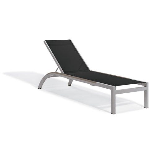 Oxford Garden Argento Armless Chaise Lounge - Powder Coated Aluminum Frame - Black Sling - Tekwood Vintage Side Rails - Set
