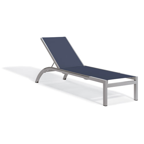 Oxford Garden Argento Armless Chaise Lounge - Powder Coated Aluminum Frame - Ink Pen Sling - Argento Side Rails - Set of 2