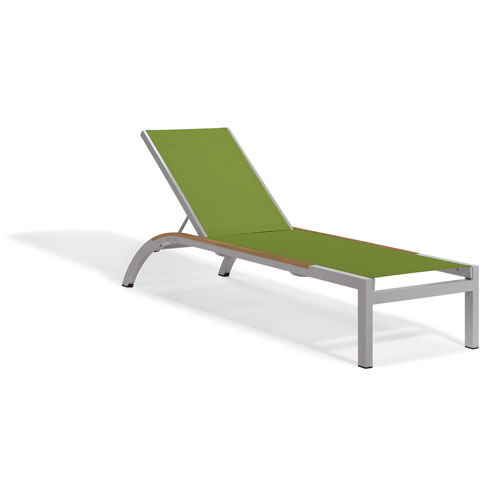 Argento Armless Chaise Lounge - Powder Coated Aluminum Frame - Go Green Sling - Tekwood Natural Side Rails - Set of 4