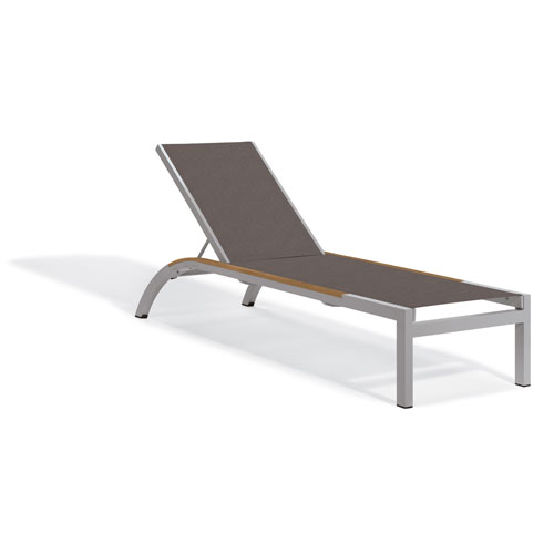 Oxford Garden Argento Armless Chaise Lounge - Powder Coated Aluminum Frame - Cocoa Sling - Tekwood Natural Side Rails - Set