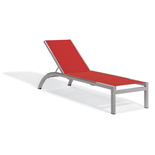 Oxford Garden Argento Armless Chaise Lounge - Powder Coated Aluminum Frame - Red Sling - Tekwood Vintage Side Rails - Set of