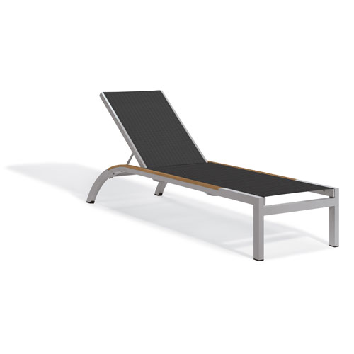 Oxford Garden Argento Armless Chaise Lounge - Powder Coated Aluminum Frame - Ninja Sling - Tekwood Natural Side Rails - Set