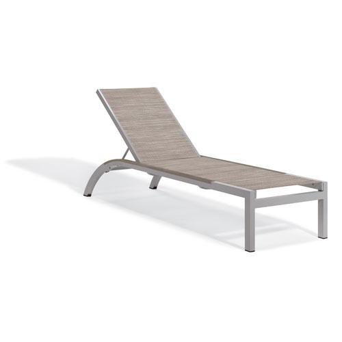 Argento Armless Chaise Lounge - Powder Coated Aluminum Frame - Bellows Sling - Tekwood Vintage Side Rails - Set of 4