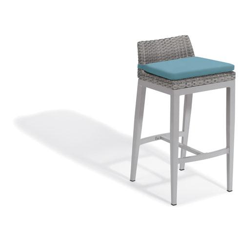 Argento Bar Stool - Argento Resin Wicker - Powder Coated Aluminum Legs - Ice Blue Polyester Cushion - Set of 2