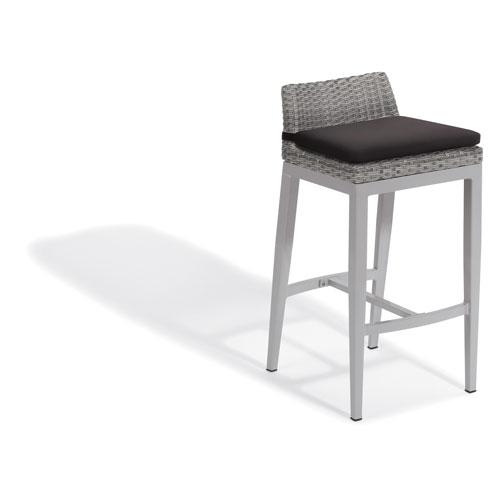 Argento Bar Stool - Argento Resin Wicker - Powder Coated Aluminum Legs - Jet Black Polyester Cushion - Set of 2