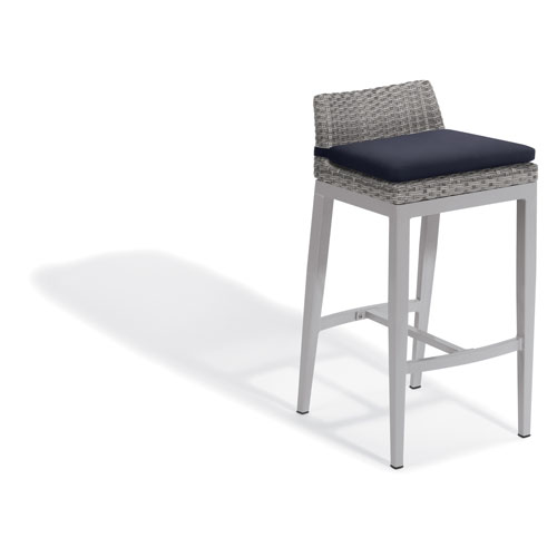 Argento Bar Stool - Argento Resin Wicker - Powder Coated Aluminum Legs - Midnight Blue Polyester Cushion - Set of 2