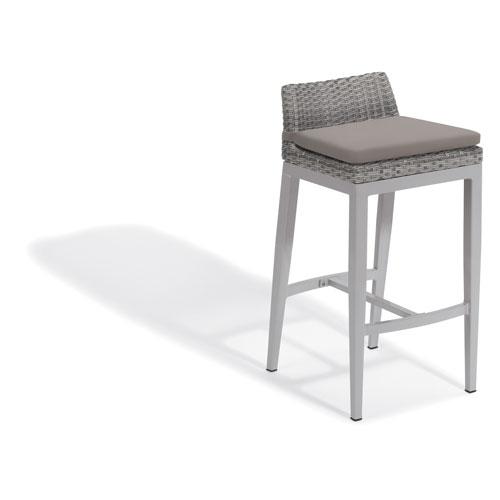 Argento Bar Stool - Argento Resin Wicker - Powder Coated Aluminum Legs - Stone Polyester Cushion - Set of 2
