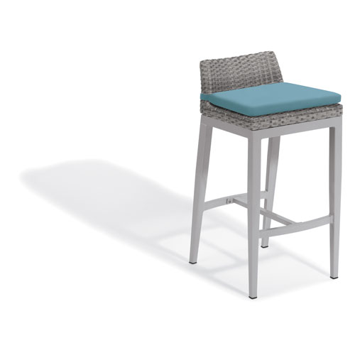 Oxford Garden Argento Bar Stool - Argento Resin Wicker - Powder Coated Aluminum Legs - Ice Blue Polyester Cushion
