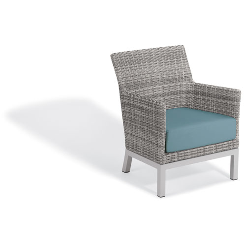 Oxford Garden Argento Club Chair - Argento Resin Wicker - Powder Coated Aluminum Legs - Ice Blue Polyester Cushion - Set of 2