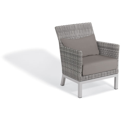 Oxford Garden Argento Club Chair with Lumbar Pillow - Argento Resin Wicker - Powder Coated Aluminum Legs - Stone Polyester