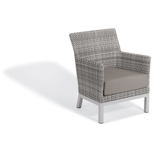 Oxford Garden Argento Club Chair - Argento Resin Wicker - Powder Coated Aluminum Legs - Stone Polyester Cushion
