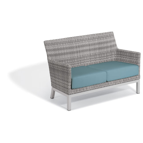 Argento Loveseat - Argento Resin Wicker - Powder Coated Aluminum Legs - Ice Blue Polyester Cushion