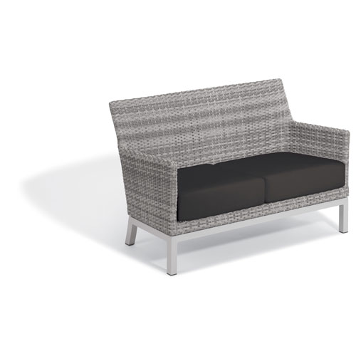 Argento Loveseat - Argento Resin Wicker - Powder Coated Aluminum Legs - Jet Black Polyester Cushion