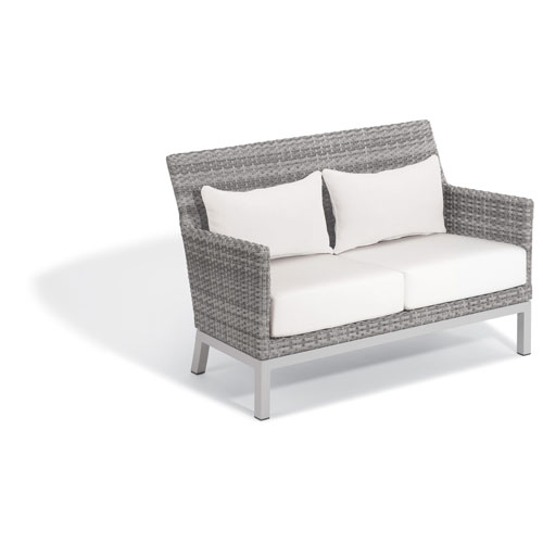 Argento Loveseat with Lumbar Pillow - Argento Resin Wicker - Powder Coated Aluminum Legs - Eggshell White Polyester Cushion