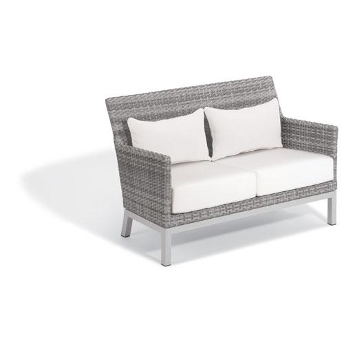 Oxford Garden Argento Loveseat with Lumbar Pillow - Argento Resin Wicker - Powder Coated Aluminum Legs - Eggshell White