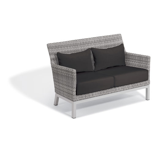 Argento Loveseat with Lumbar Pillow - Argento Resin Wicker - Powder Coated Aluminum Legs - Jet Black Polyester Cushion and