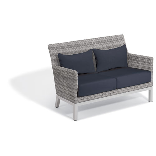 Argento Loveseat with Lumbar Pillow - Argento Resin Wicker - Powder Coated Aluminum Legs - Midnight Blue Polyester Cushion