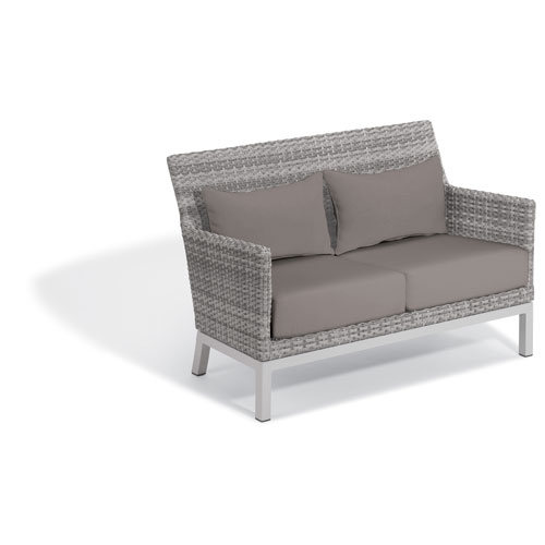 Oxford Garden Argento Loveseat with Lumbar Pillow - Argento Resin Wicker - Powder Coated Aluminum Legs - Stone Polyester