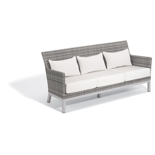 Argento Sofa - Argento Resin Wicker - Powder Coated Aluminum Legs - Eggshell White Polyester Cushion
