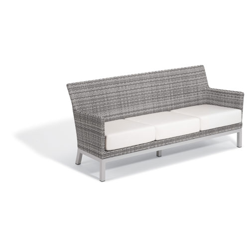 Argento Sofa with Lumbar Pillow - Argento Resin Wicker - Powder Coated Aluminum Legs - Eggshell White Polyester Cushion and