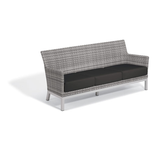 Argento Sofa with Lumbar Pillow - Argento Resin Wicker - Powder Coated Aluminum Legs - Jet Black Polyester Cushion and Pillow