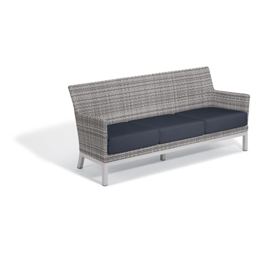 Argento Sofa with Lumbar Pillow - Argento Resin Wicker - Powder Coated Aluminum Legs - Midnight Blue Polyester Cushion and
