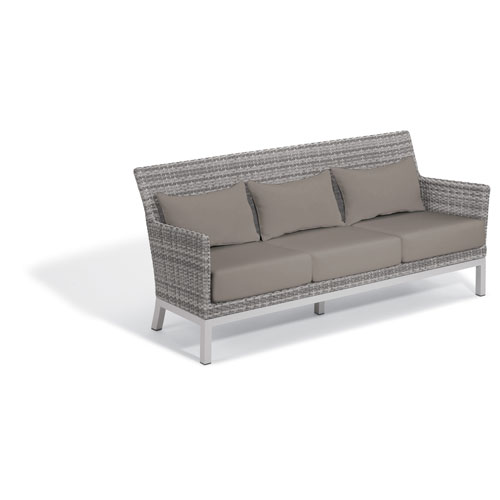 Argento Sofa - Argento Resin Wicker - Powder Coated Aluminum Legs - Stone Polyester Cushion