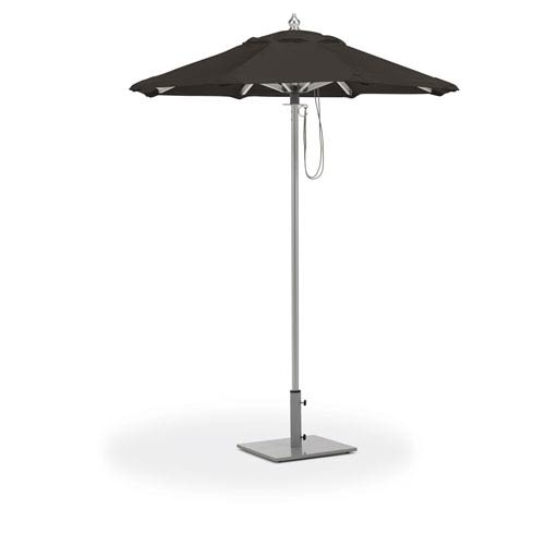 6 ft. Octagon Sunbrella Market Umbrella - Brushed Aluminum Frame - Black Sunbrella® Fabric Shade