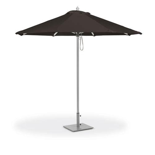 9 ft. Octagon Sunbrella Market Umbrella - Brushed Aluminum Frame - Black Sunbrella® Fabric Shade