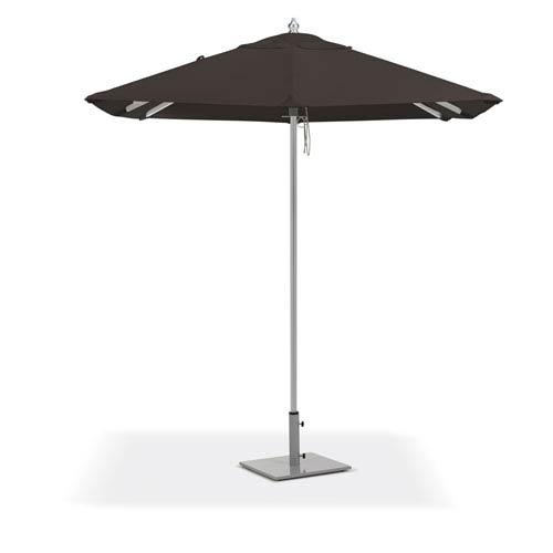 6.5 ft. Square Sunbrella Market Umbrella - Brushed Aluminum Frame - Black Sunbrella® Fabric Shade